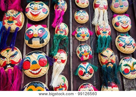 Straw tray's art - Vietnam famous souvenir in multi-faces are sales in many shops around downtown Ha