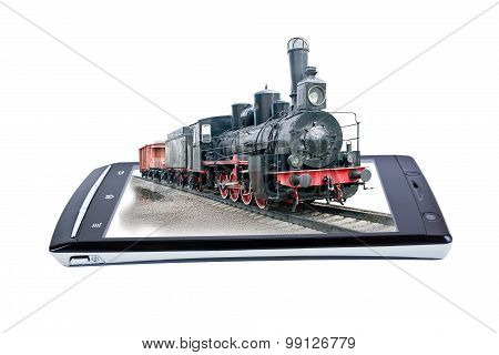 Locomotive On Display Smartphone. Collage