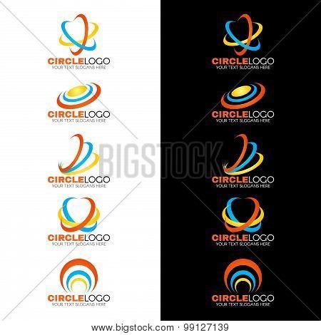 Yellow blue orange circle wave line logo vector design