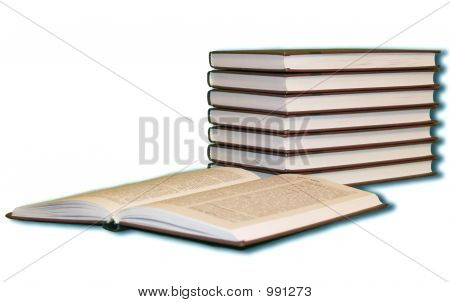 Books Pile With One Opened