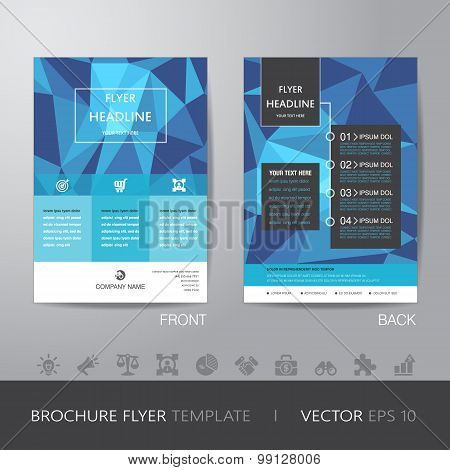Polygon Business Brochure Flyer Design Layout Template In A4 Size, With Bleed, Vector Eps10