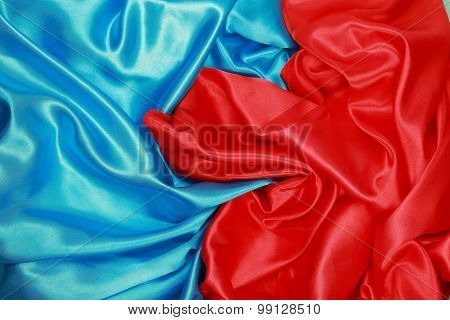 Blue And Red Silk Cloth Of Wavy Abstract Backgrounds
