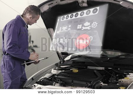 Engineering interface against mechanic holding a clipboard while looking at a car engine