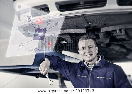Engineering interface against mechanic holding a spanner below a car