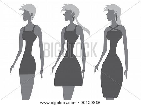 Fashion Models In Stylish Black Dress Vector Illustration