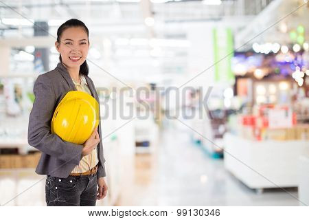 Portrait of Young female engineer.