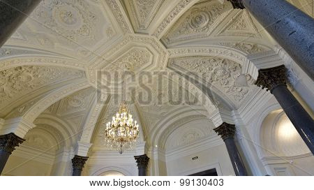 ST. PETERSBURG, RUSSIA - AUGUST 13, 2015: Fragment of restored interiors of the Marble Palace. Built in 1768-1785 by design of Antonio Rinaldi, now the palace is the department of Russian Museum