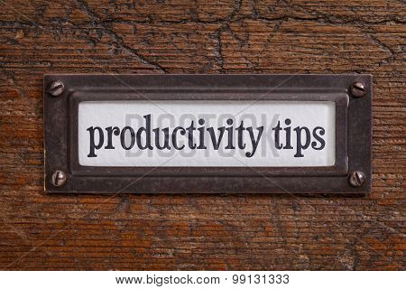 productivity tips - a label on a grunge wooden file cabinet