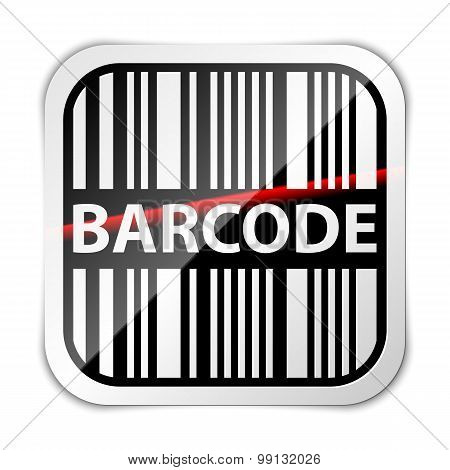 Barcode Icon With Red Laser Beam Vector Illustration