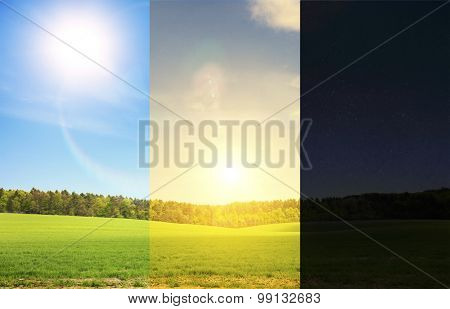 Three part of day in one image. The beautiful field in day, night and evening