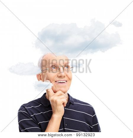 Studio shot of a pensive senior with a few clouds floating around his head isolated on white background