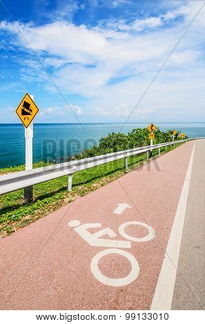 Lane for bicycle along the coastal road.