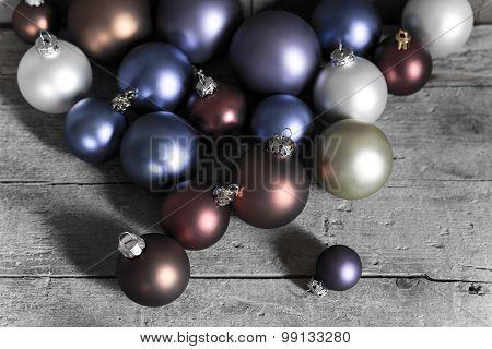 Metallic Christmas Balls On A Table