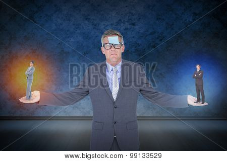 Businesswoman standing with folded arms against dark grimy room