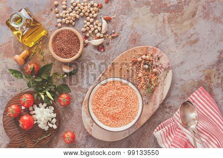 Red lentil soup with Chickpeas and Quinoa