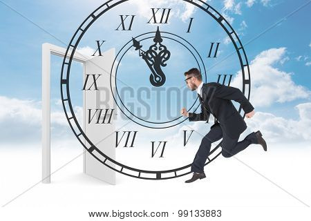 Geeky young businessman running mid air against roman numeral clock
