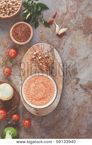 Red Lentil Quinoa Soup ingredients