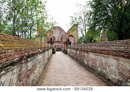 hallway to the ancient Buddhist church