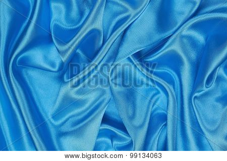 Blue Silk Cloth Of Wavy Abstract Background