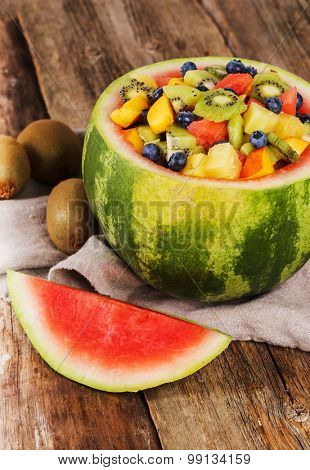 Delicious fruit salad on the table