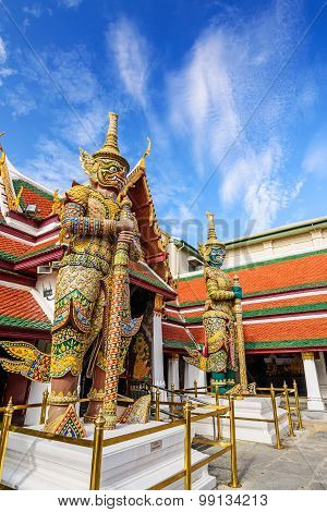 Giant statue at Wat pra kaew, Grand palace ,Bangkok,Thailand.(No restrict in copy or use)
