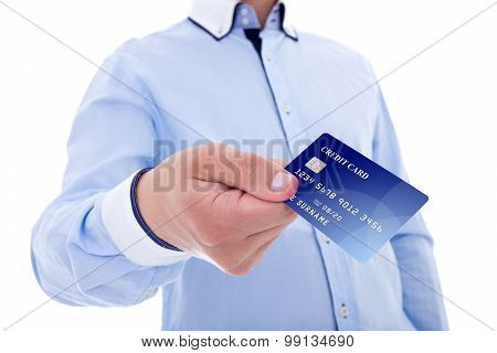 Businessman Giving Credit Card Isolated On White