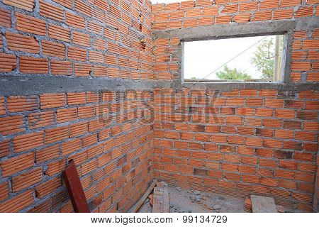 Brick Wall In Residential Building Construction Site