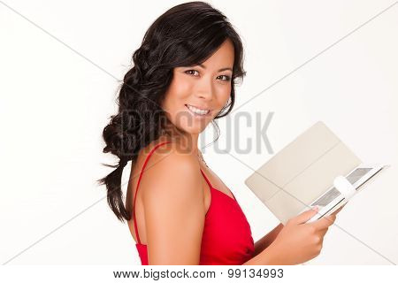 Young Woman Reading The Electronic Book