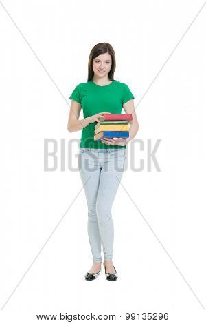 Young and attractive teenage schoolgirl isolated on white