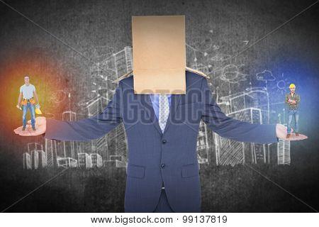handyman smiling against hand drawn city plan