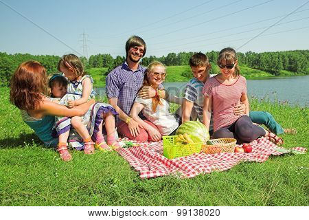 happy people have a picnic outdoor