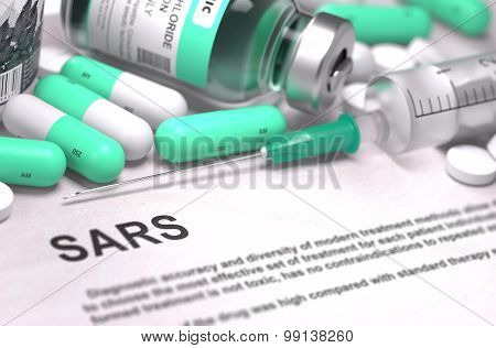 Diagnosis - SARS. Medical Concept with Blurred Background.