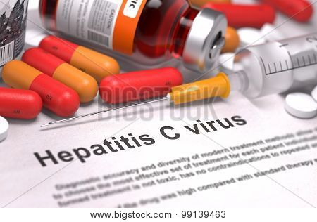 Diagnosis - Hepatitis C Virus. Medical Concept. 3D Render.
