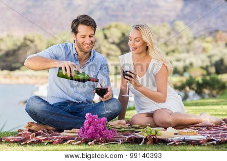 Couple on date pouring red wine while lying on a blanket