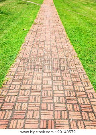 Red brick walk path on green grass.