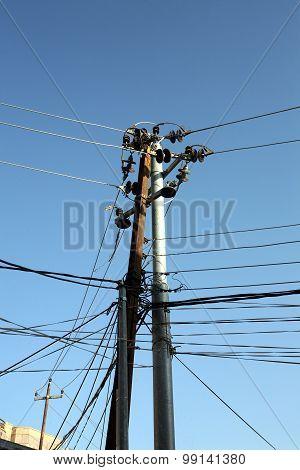 Wiring against blue sky