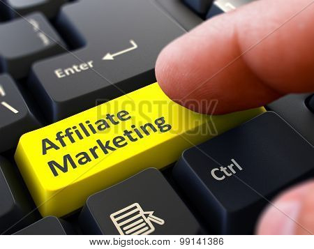 Affiliate Marketing Concept. Person Click Keyboard Button.