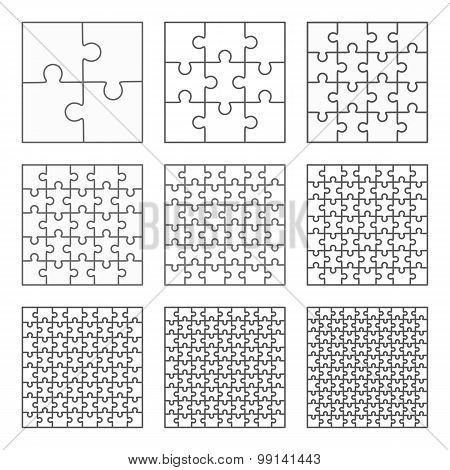 Jigsaw puzzle nine vector flat blank templates set