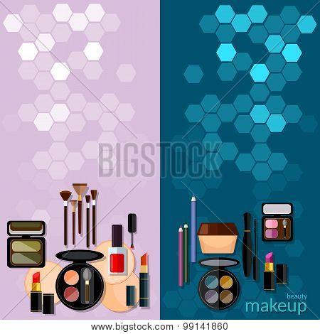 Makeup Fashion Concept Makeup Professional Make-up Details Women Cosmetics Cosmetology Vector Banner