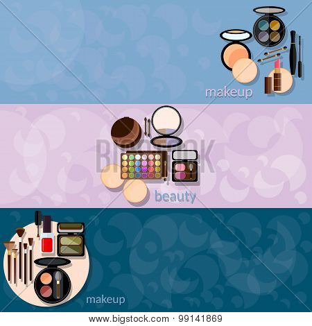 Decorative Cosmetics Glamour Makeup Powder Nail Polish Eye Shadow Mascara Fashion vector banners