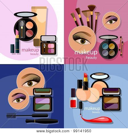 Makeup Beautiful Female Eye Eyeshadow Eyelashes Lip Liner Lipstick Mascara Professional Cosmetics
