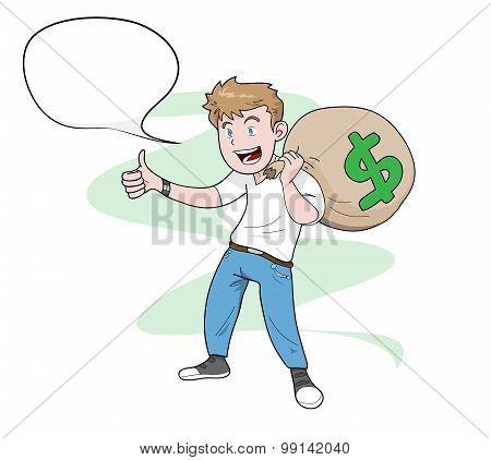 Man Carrying A Bag of Money