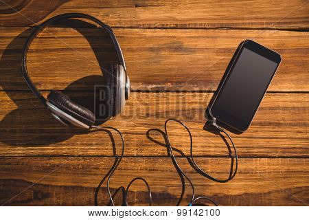 View of a desk with headphones