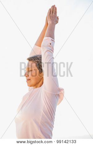 Peaceful sporty woman doing yoga at promenade on a sunny day