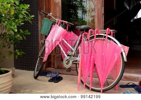 Pink Umbrella And Vintage Bicycle.