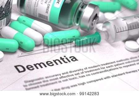 Dementia Diagnosis. Medical Concept. Composition of Medicaments.