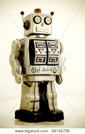 standing silver robot toy