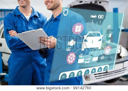 Engineering interface against smiling mechanic working together on clipboard