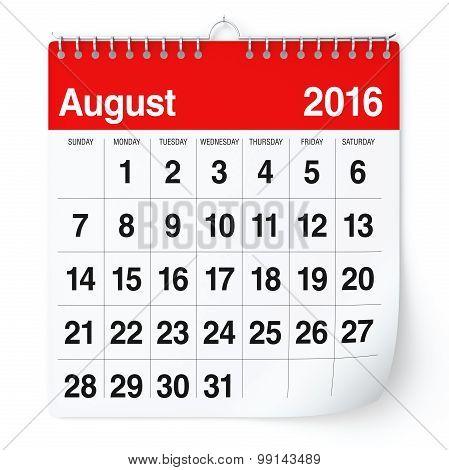 August 2016 - Calendar.