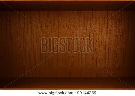 Empty Wood Box, Cabinet Or Bookcase Can Be Used As Background